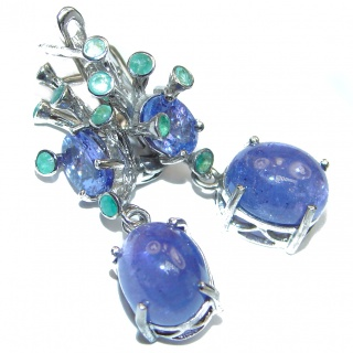 Vintage Style genuine Tanzanite Emerald .925 Sterling Silver handmade earrings