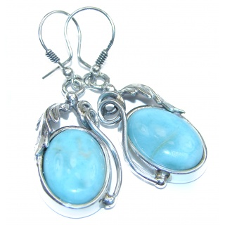 Precious vintage style Blue Larimar .925 Sterling Silver handmade earrings
