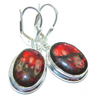 Incredible Canadian Fire Ammolite .925 Sterling Silver handmade earrings