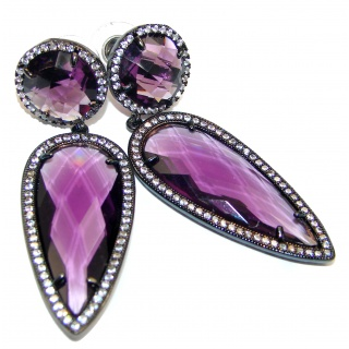 Huge Authentic faceted Purple Quartz black rhodium .925 Sterling Silver handmade earrings