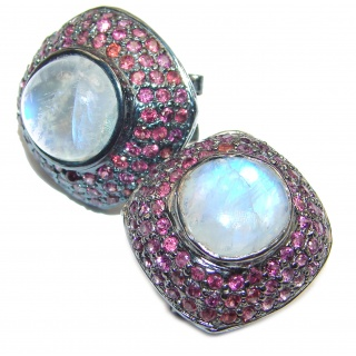 Angelica Rainbow Moonstone Ruby Black rhodium over .925 Sterling Silver handcrafted stud earrings