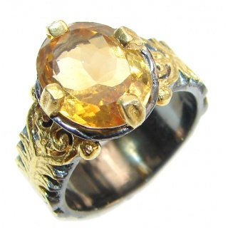 Vintage Style Natural Citrine 18K Gold over .925 Sterling Silver handcrafted Ring s. 6