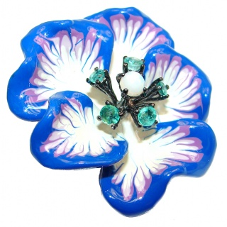 Fancy Enamel Flower .925 Sterling Silver handmade Pendant