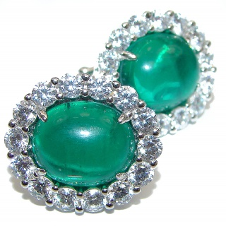 Spectacular Colombian Emerald .925 Sterling Silver handmade earrings