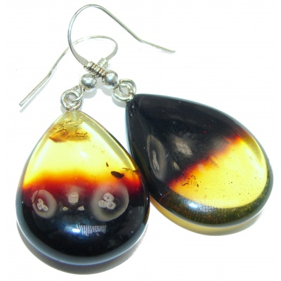 LARGE Authentic Baltic Amber .925 Sterling Silver handmade Earrings