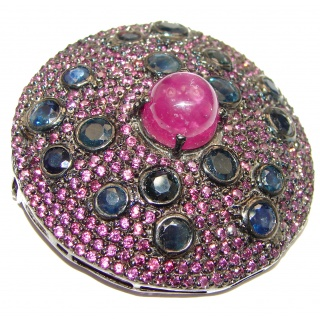 Large genuine Ruby Sapphire black rhodium .925 Sterling Silver handmade Pendant - Brooch