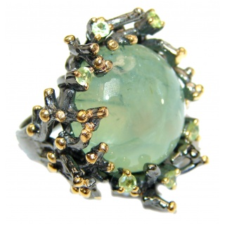 Natural Moss Prehnite 14K Gold over .925 Sterling Silver handmade ring s. 6