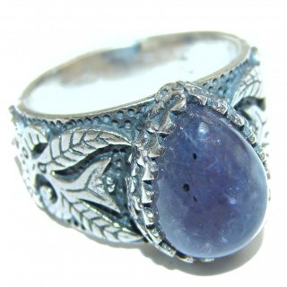 Chunky Authentic African Tanzanite .925 Sterling Silver handmade Ring s. 8