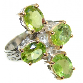 Spectacular Natural Peridot .925 Sterling Silver handcrafted ring size 6 3/4