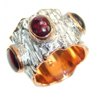 Genuine 27 ct Garnet 18ct Gold Rhodium over .925 Sterling Silver handmade Cocktail Ring s. 5 1/2