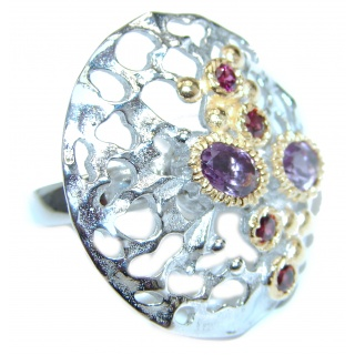 Spring Blooming Natural Amethyst 18K Gold over .925 Sterling Silver handcrafted ring size 8
