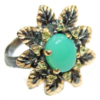 Good Energy Chrysoprase .925 Sterling Silver Ring s. 6 3/4