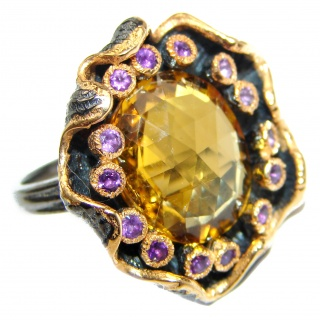 Vintage Style Natural Citrine 14K Gold over .925 Sterling Silver handcrafted Ring s. 8 1/4