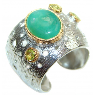 Good Energy Chrysoprase 14K Gold over .925 Sterling Silver Ring s. 8 adjustable
