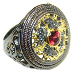 Genuine Garnet 18K Gold over .925 Sterling Silver handmade Cocktail Ring s. 7 1/4