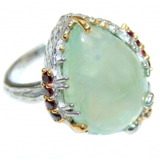 Scorpio Natural Moss Prehnite 14K Gold over .925 Sterling Silver handmade ring s. 7 1/4