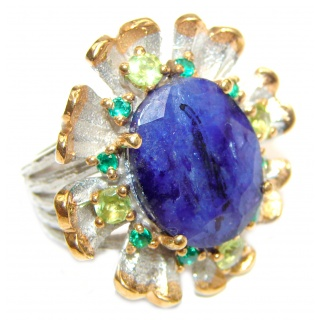 Secret Beauty Sapphire 14K Gold over .925 Sterling Silver handcrafted ring size 7