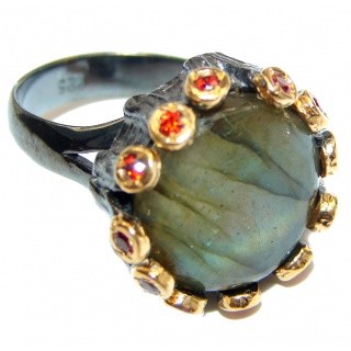 Vintage Design Genuine Labradorite 14K Gold over .925 Sterling Silver handmade Cocktail Ring s. 8 ADJUSTABLE