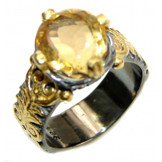 Vintage Style cushion cut Citrine black rhodium over .925 Sterling Silver handmade Cocktail Ring s. 8