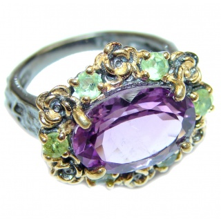 Large Victorian Style genuine Amethyst .925 Sterling Silver handcrafted Ring size 7 3/4