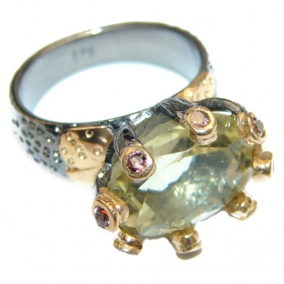 Jumbo Vintage Style Citrine 18K Gold over .925 Sterling Silver handmade Cocktail Ring s. 6 1/4