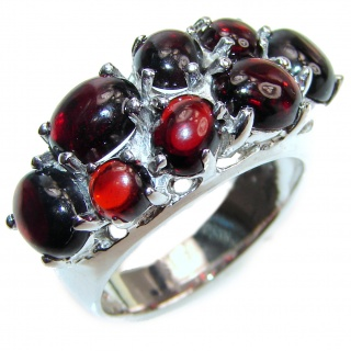 Jumbo authentic Garnet .925 Sterling Silver handmade Cocktail Ring s. 8 1/2