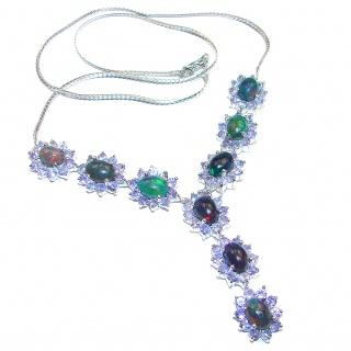 Exclusive Black Fire Opal Tanzanite .925 Sterling Silver handmade Necklaces