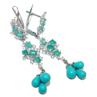 Posh Sleeping Beauty Turquoise .925 Sterling Silver handmade earrings