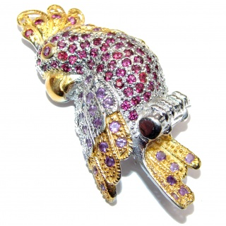 Incredible Parrot Natural Garnet Amethyst 925 Sterling Silver Pendant Brooch