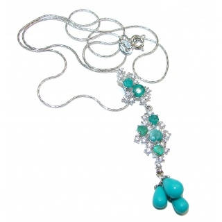 Gallery Masterpiece Blue genuine Turquoise Emerald .925 Sterling Silver necklace