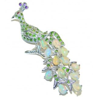 Dazzling Peacock Natural Ethiopian Opal 925 Sterling Silver Pendant Brooch