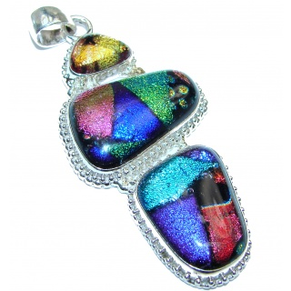 Perfect Mexican Dichroic Glass .925 Sterling Silver handcrafted pendant