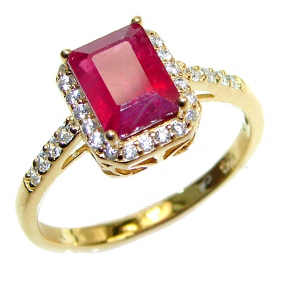 Vintage Beauty genuine Ruby 18K Gold over .925 Sterling Silver Statement handcrafted ring; s. 9