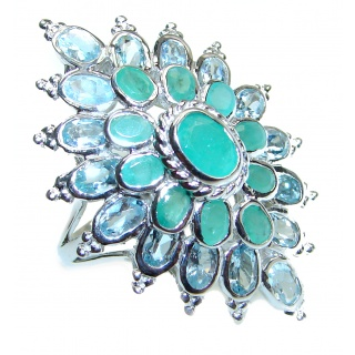 Large Natural Emerald Aquamarine .925 Sterling Silver handmade Statement ring s. 8