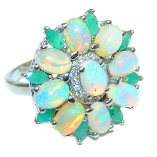 Genuine Bold Ethiopian Opal Emerald .925 Sterling Silver Ring size 7 3/4