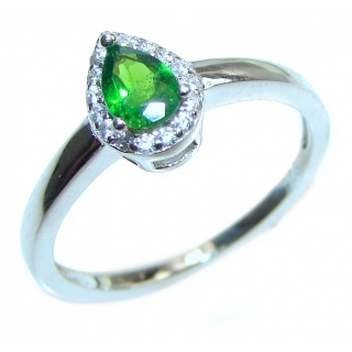 Natural Chrome Diopside .925 Sterling Silver Statement ring size 7 1/4