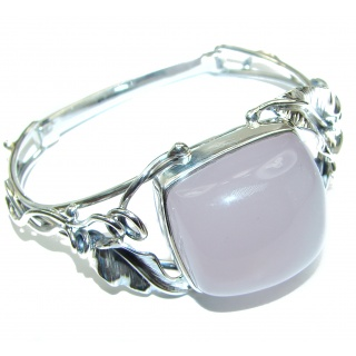 Incredible Genuine Rose Quartz .925 Sterling Silver handcrafted Bracelet / Cuff