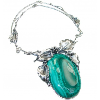 Vintage Beauty Best Quality Rare Genuine Malachite oxidized .925 Sterling Silver handmade necklace