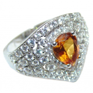 Classy Beauty Natural Citrine .925 Sterling Silver handcrafted Ring s. 9