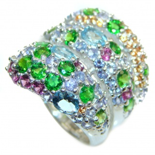 Stunning Snake Large Multigem .925 Sterling Silver handcrafted ring size 9