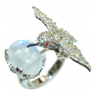 Hummingbird genuine Tourmaline Moonstone .925 Sterling Silver handmade Ring size 7 3/4