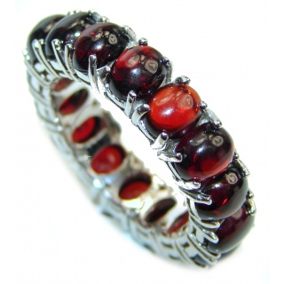 Dazzling Authentic Garnet .925 Sterling Silver handmade Cocktail Ring s. 8 1/2