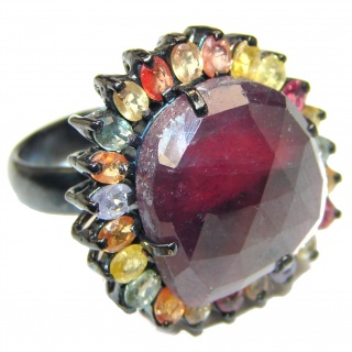 Large Genuine Kashmir Ruby black rhodium over .925 Sterling Silver handcrafted Statement Ring size 8 1/4