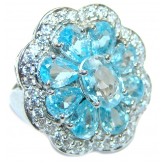 Melissa Genuine Swiss Blue Topaz .925 Sterling Silver handcrafted LARGE Statement Ring size 6