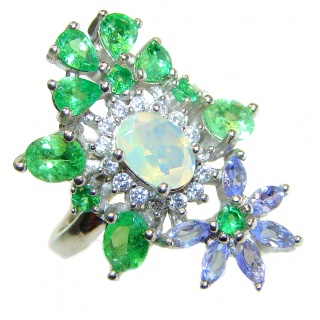Fancy Ethiopian Opal .925 Sterling Silver handcrafted ring size 6