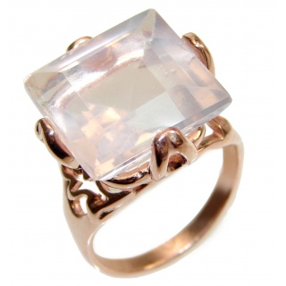 Princess Cut 15ctw Rose Quartz Rose Gold over .925 Sterling Silver brilliantly handcrafted ring s. 7