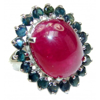 Vintage Beauty genuine Kashmir Ruby Grandidierite .925 Sterling Silver Statement handcrafted ring; s. 8