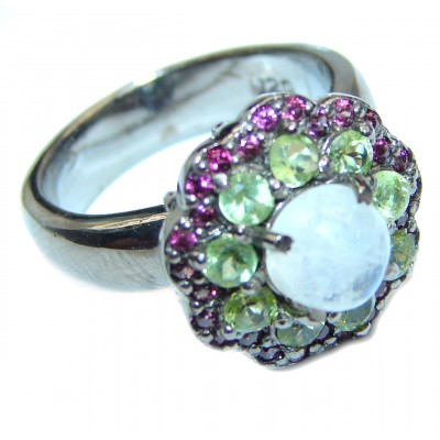 Angelica Rainbow Moonstone Ruby Black rhodium over .925 Sterling Silver handmade Ring size 8