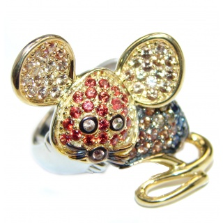 Cute Mouse Genuine Garnet 18ct Gold Rhodium over .925 Sterling Silver handmade Cocktail Ring s. 7