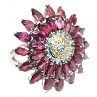Huge Genuine Garnet Yellow Saphire .925 Sterling Silver handmade Cocktail Ring s. 7 1/4